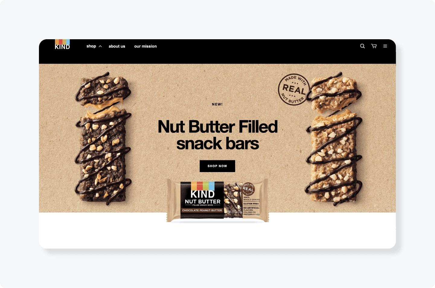 Kind Nut butter bars advertisement
