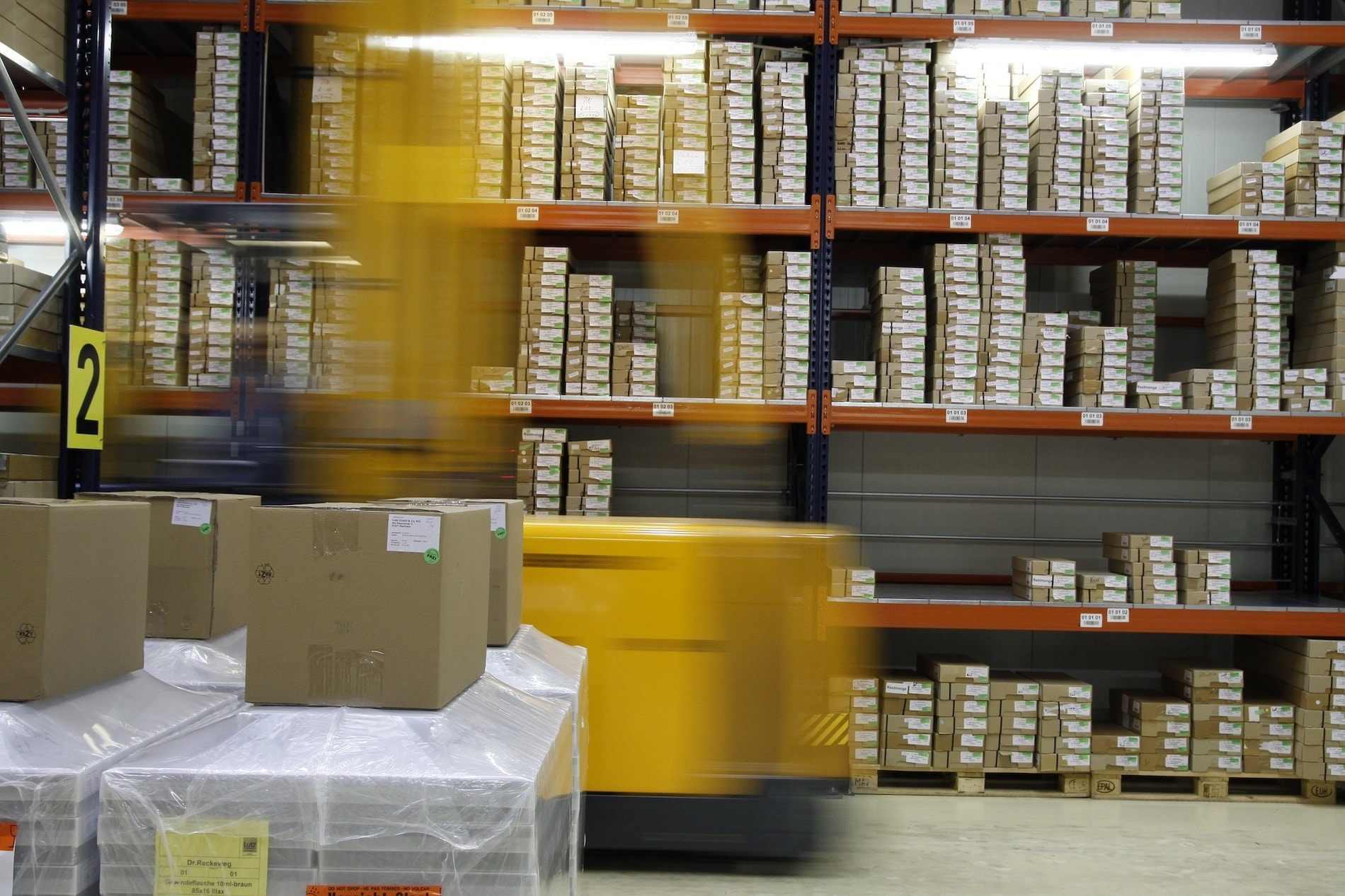 Warehouse with boxes piled high