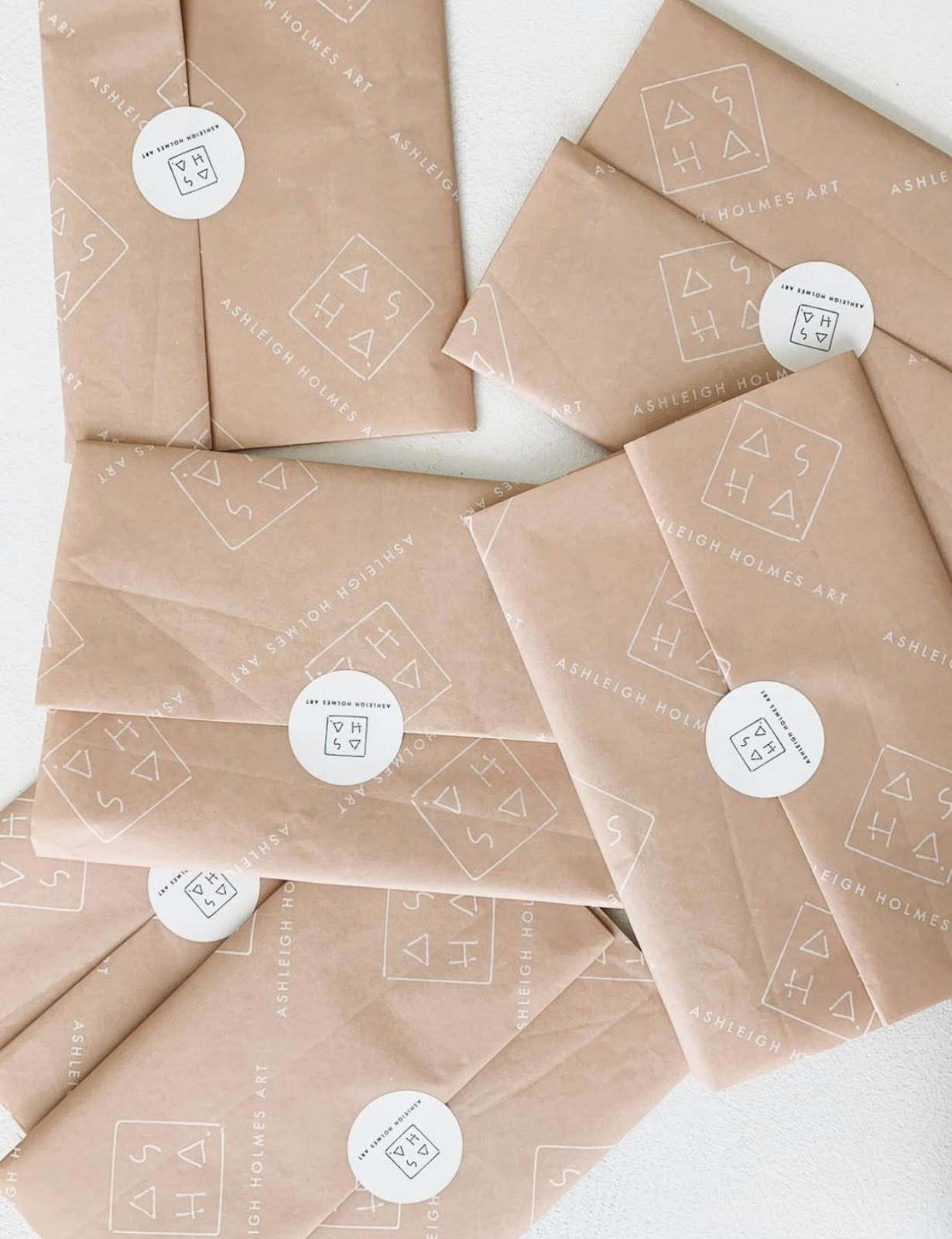 Parcels wrapped in noissue custom tissue paper