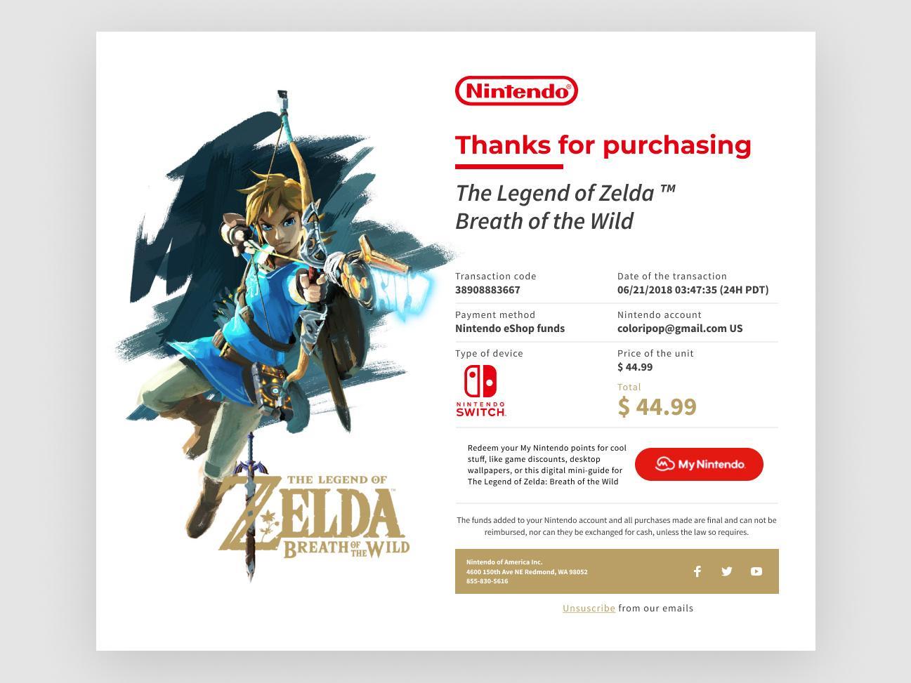Legend of Zelda purchase confirmation email